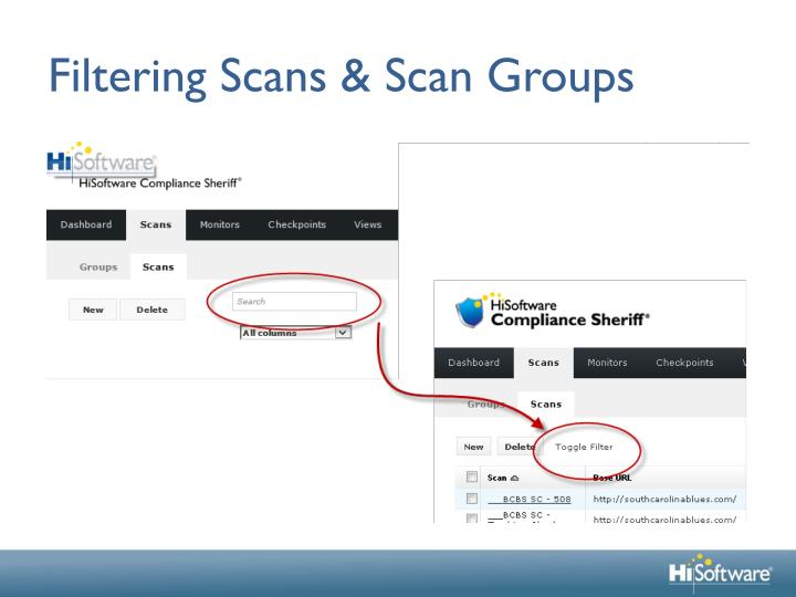 Filtering Scans & Scan Groups