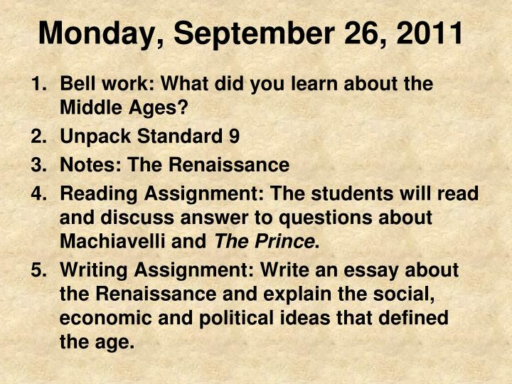 Monday september 26 2011
