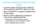 long term funding for national clinical audits