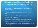 recommended novels books for integration into mathematics