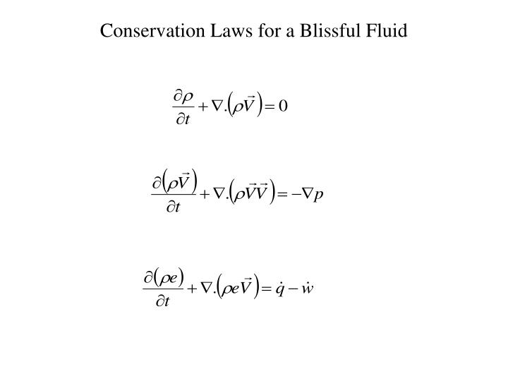 Conservation laws for a blissful fluid
