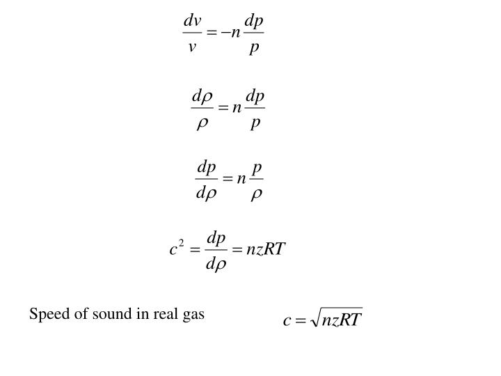 Speed of sound in real gas