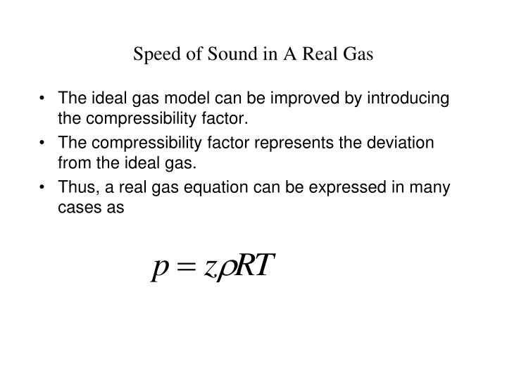 Speed of Sound in A Real Gas