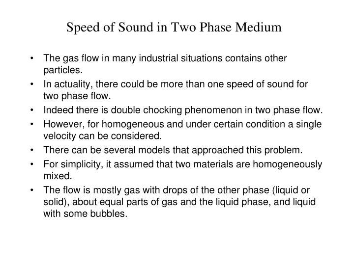 Speed of Sound in Two Phase Medium