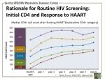 rationale for routine hiv screening initial cd4 and response to haart