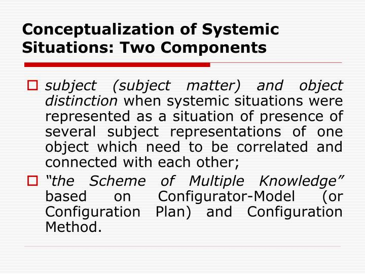 Conceptualization of Systemic Situations: Two Components