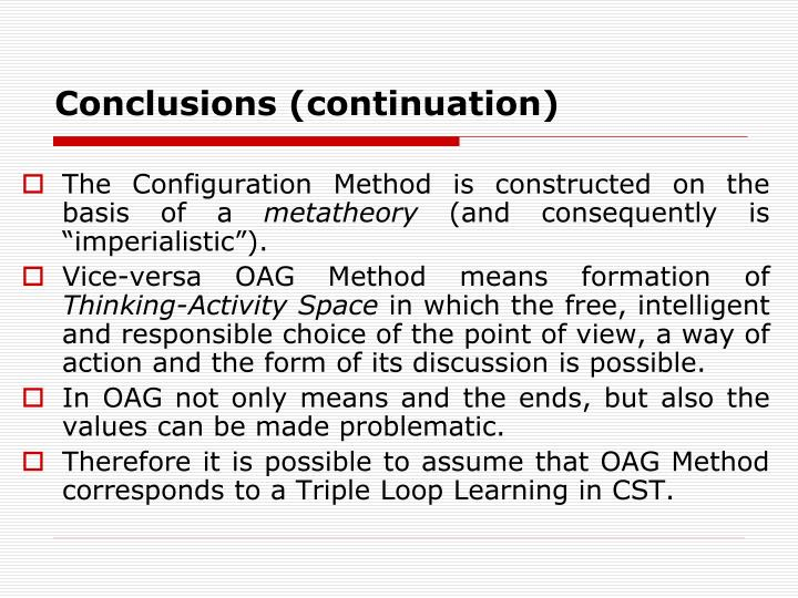 Conclusions (continuation)
