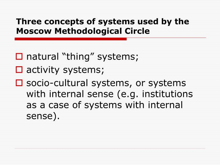 Three concepts of systems used by the Moscow Methodological Circle