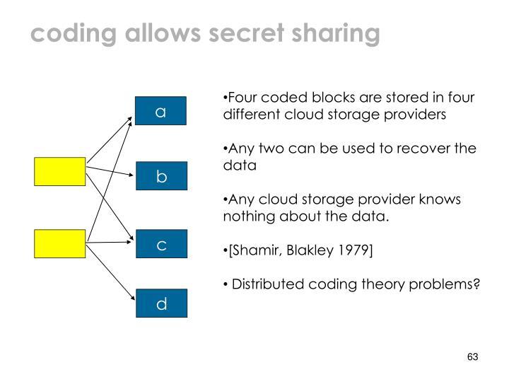 coding allows secret sharing