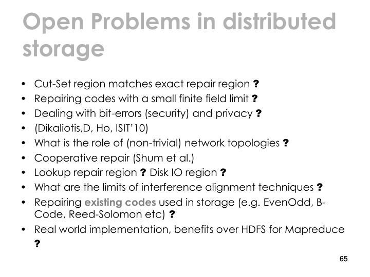 Open Problems in distributed storage