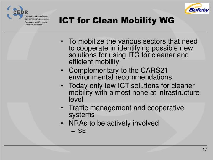 ICT for Clean Mobility WG