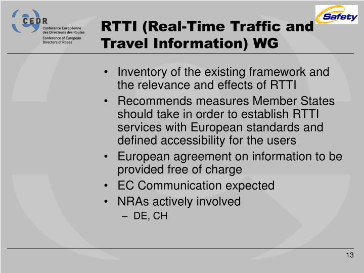 RTTI (Real-Time Traffic and Travel Information) WG