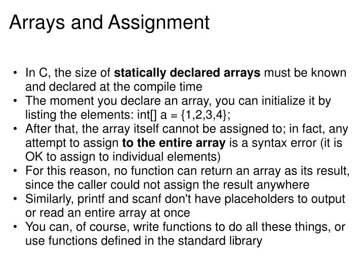 Arrays and Assignment