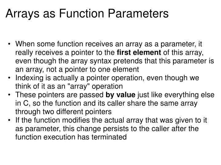 Arrays as Function Parameters