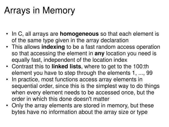 Arrays in Memory