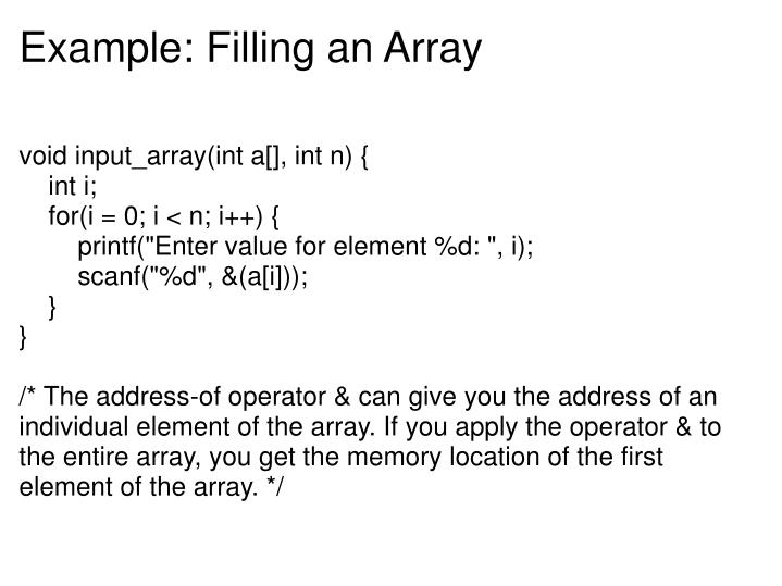 Example: Filling an Array