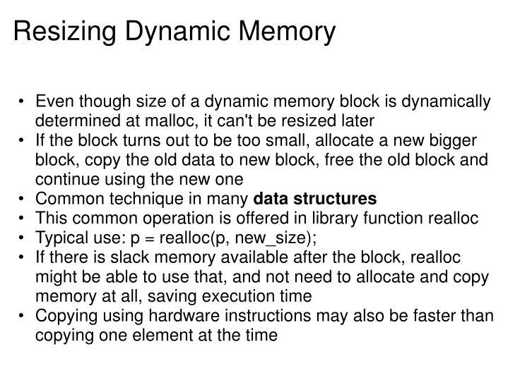 Resizing Dynamic Memory