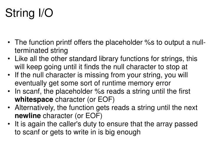 String I/O