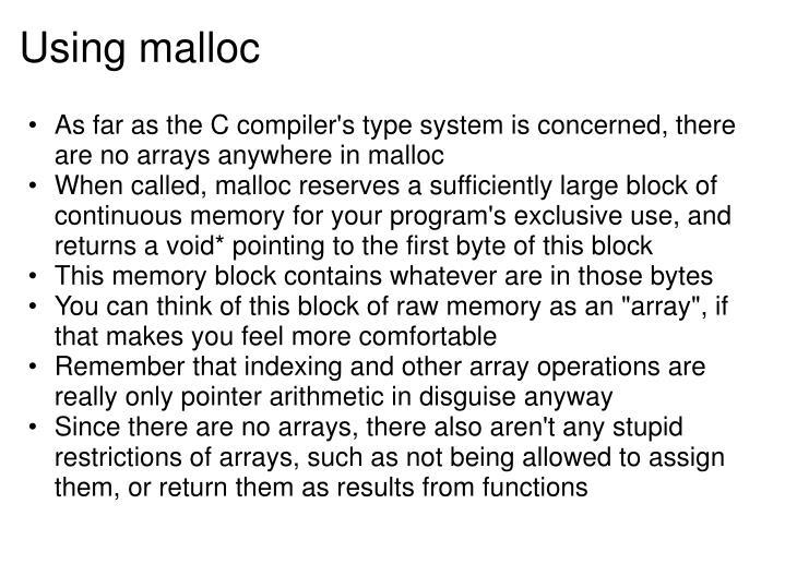 Using malloc