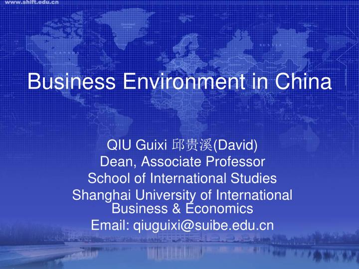 business environment in china n.
