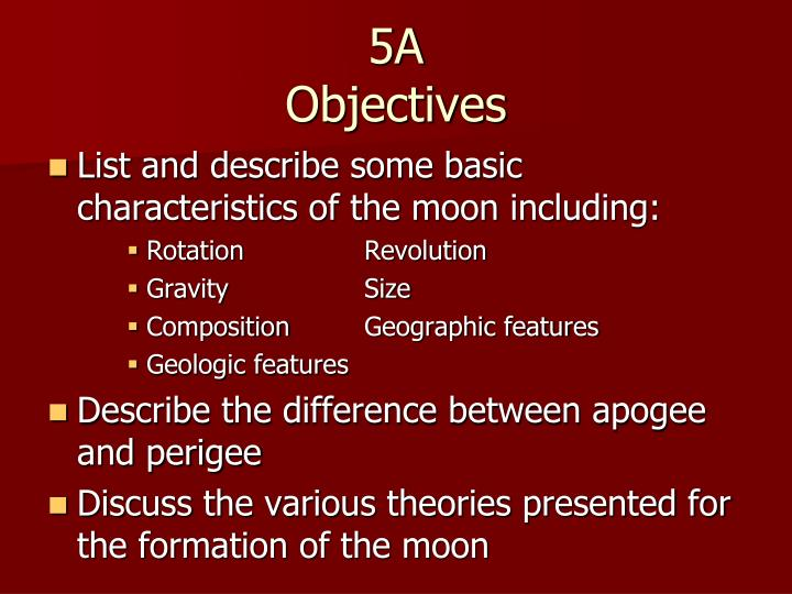 5a objectives n.