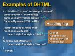 examples of dhtml
