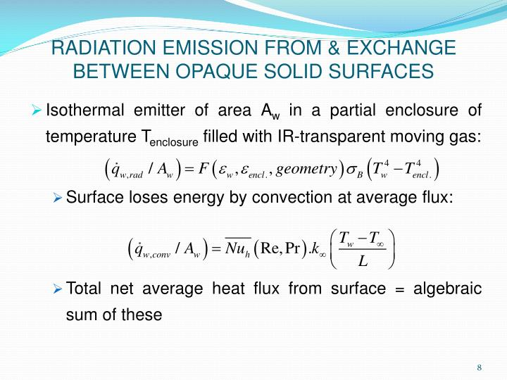 RADIATION EMISSION FROM & EXCHANGE BETWEEN OPAQUE SOLID SURFACES