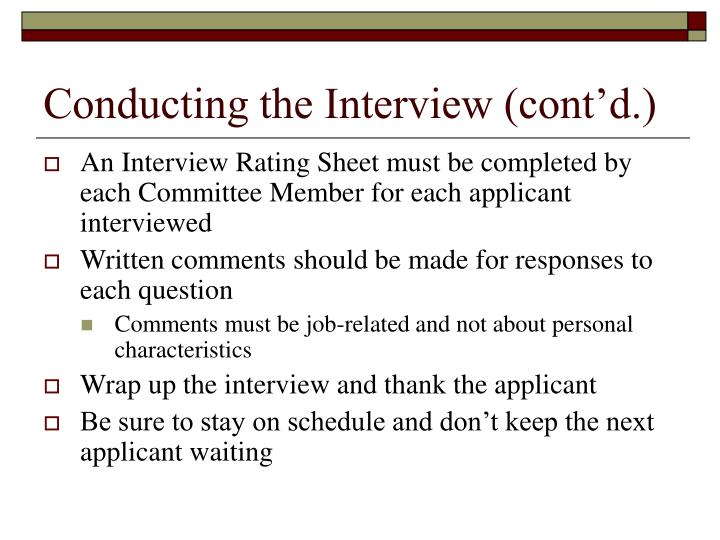 Conducting the Interview (cont'd.)