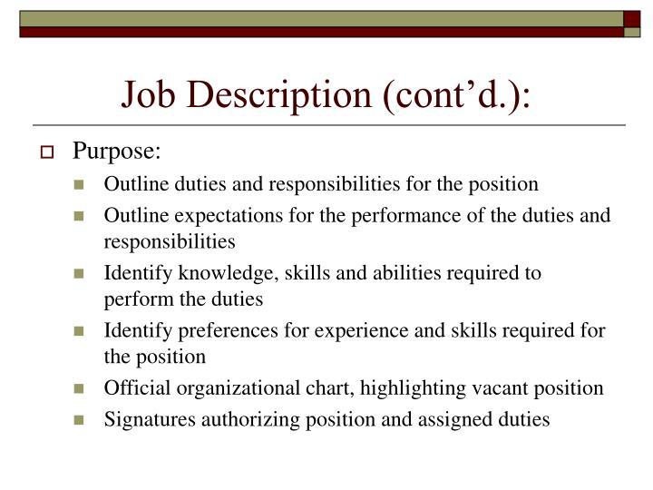Job Description (cont'd.):