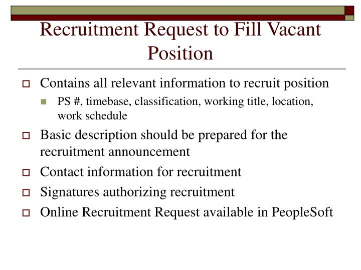 Recruitment Request to Fill Vacant Position