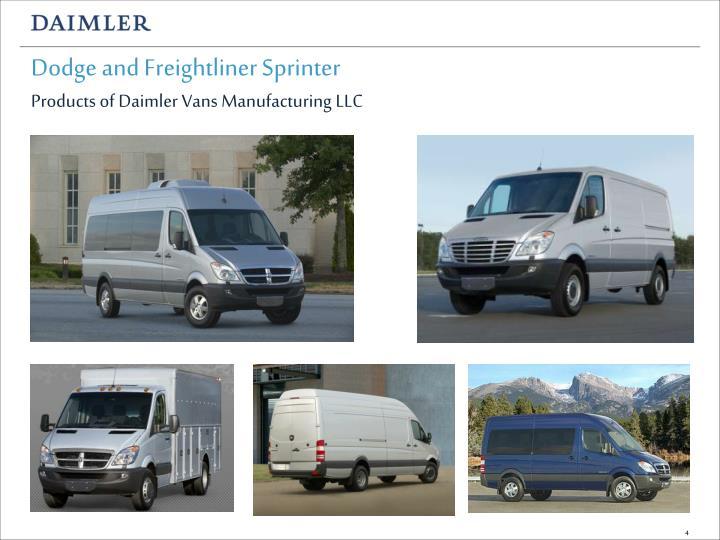 Dodge and Freightliner Sprinter