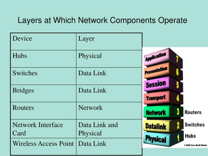 Layers at Which Network Components Operate