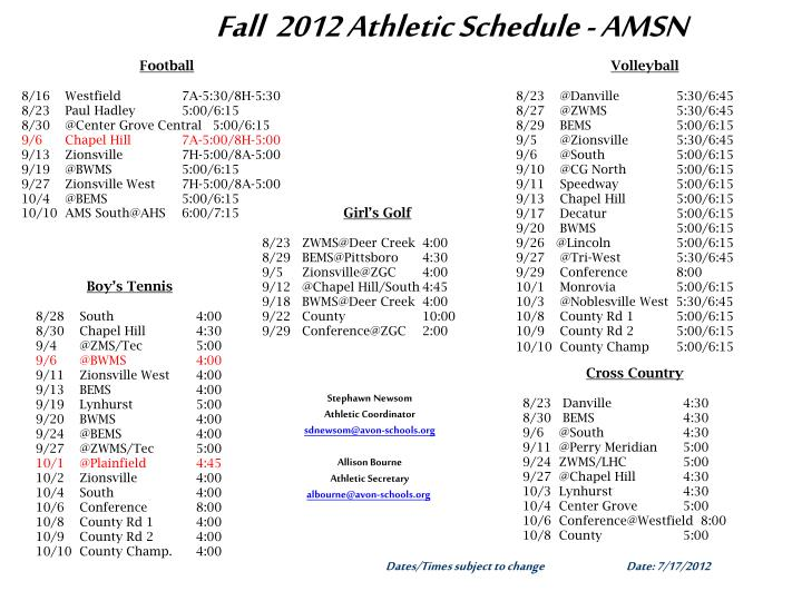 fall 2012 athletic schedule amsn n.
