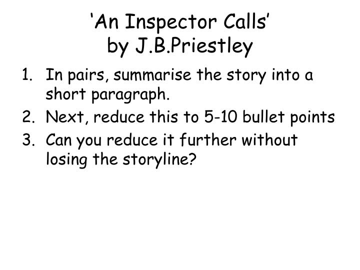 An inspector calls by j b priestley