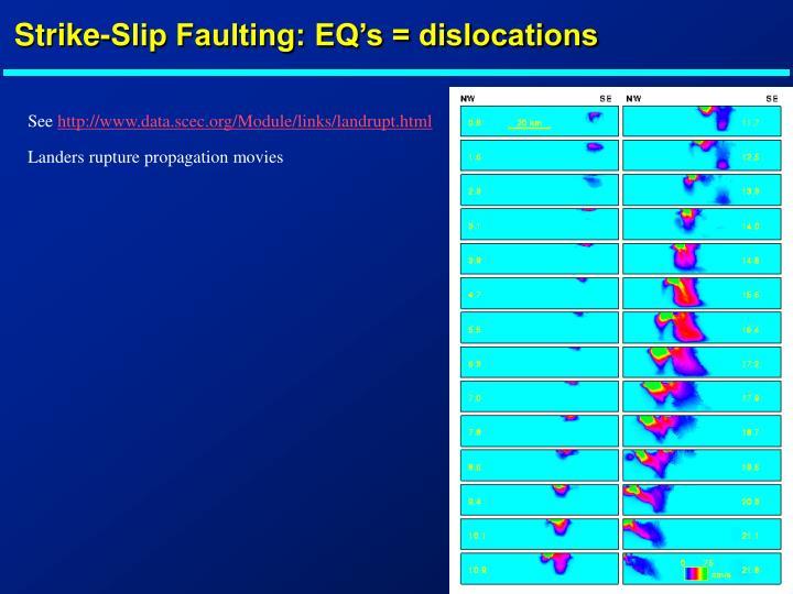 Strike-Slip Faulting: EQ's = dislocations