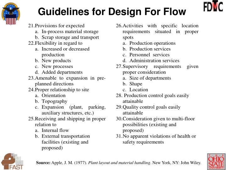 Guidelines for Design For Flow