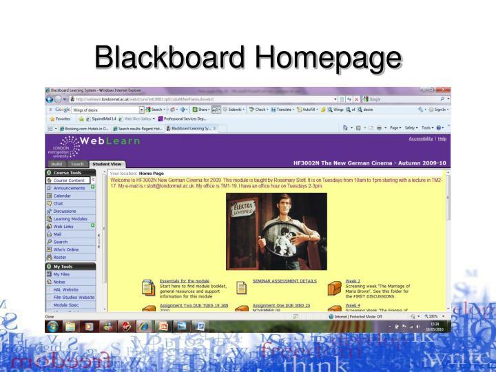 Blackboard Homepage