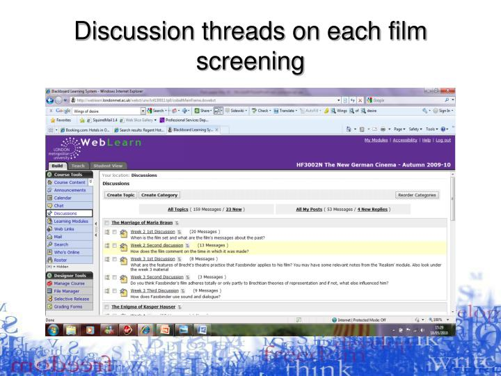Discussion threads on each film screening