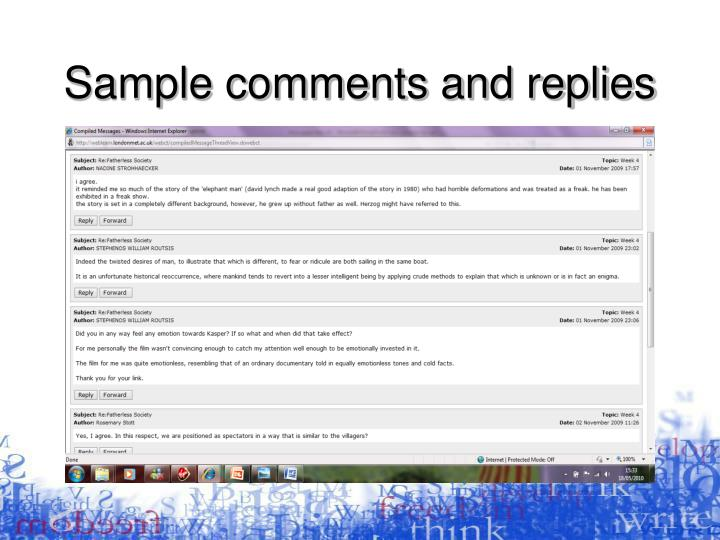 Sample comments and replies
