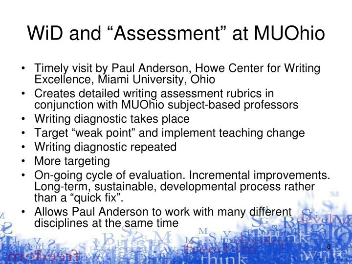 """WiD and """"Assessment"""" at MUOhio"""