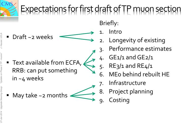 Expectations for first draft of TP muon section