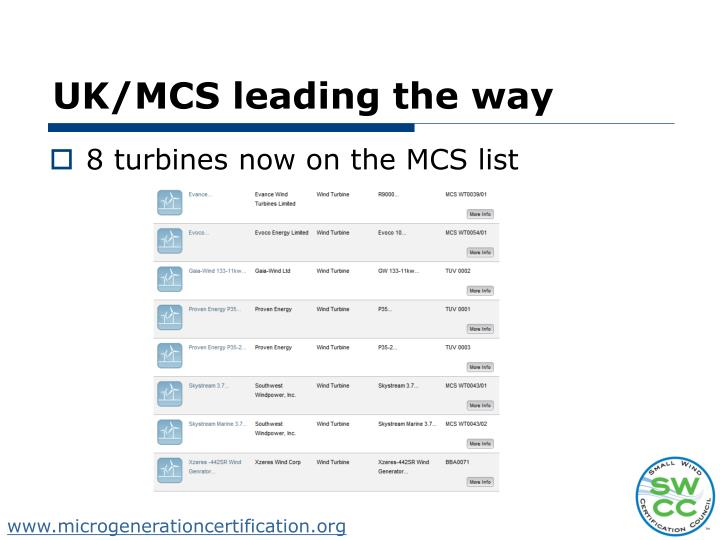 UK/MCS leading the way