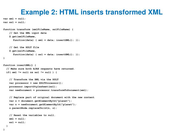 Example 2: HTML inserts transformed XML