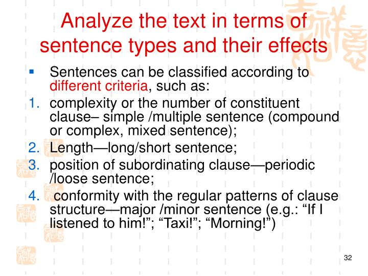 Analyze the text in terms of  sentence types and their effects
