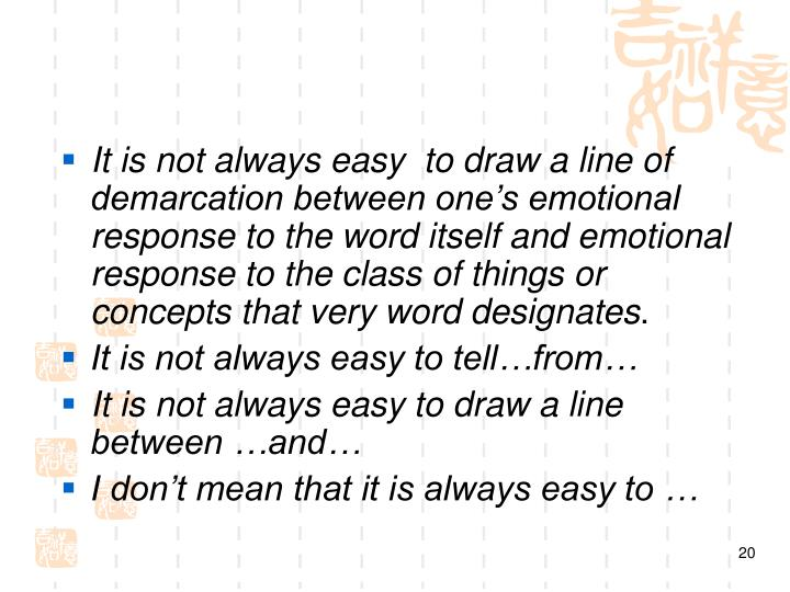 It is not always easy  to draw a line of demarcation between one's emotional response to the word itself and emotional response to the class of things or concepts that very word designates