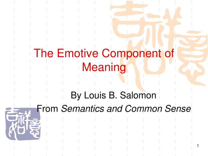 The emotive component of meaning