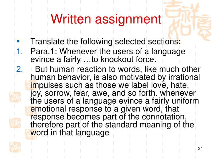 Written assignment