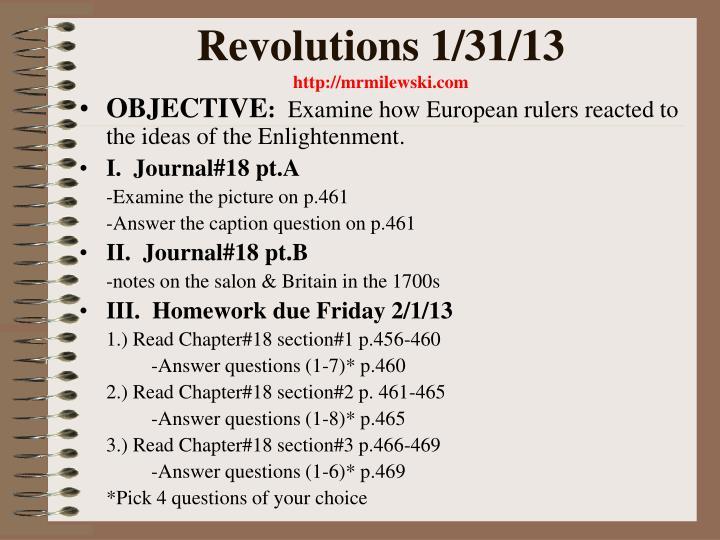 Revolutions 1/31/13