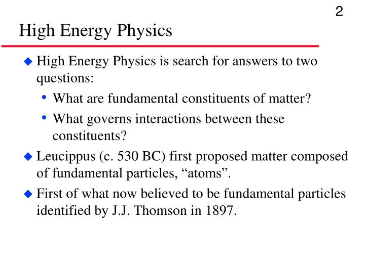 High energy physics1