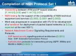 completion of ngn protocol set 11